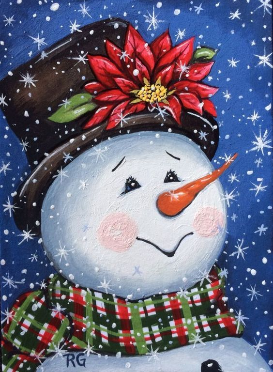 Snowman, Snowman Painting, Snowman Art, Christmas Decor