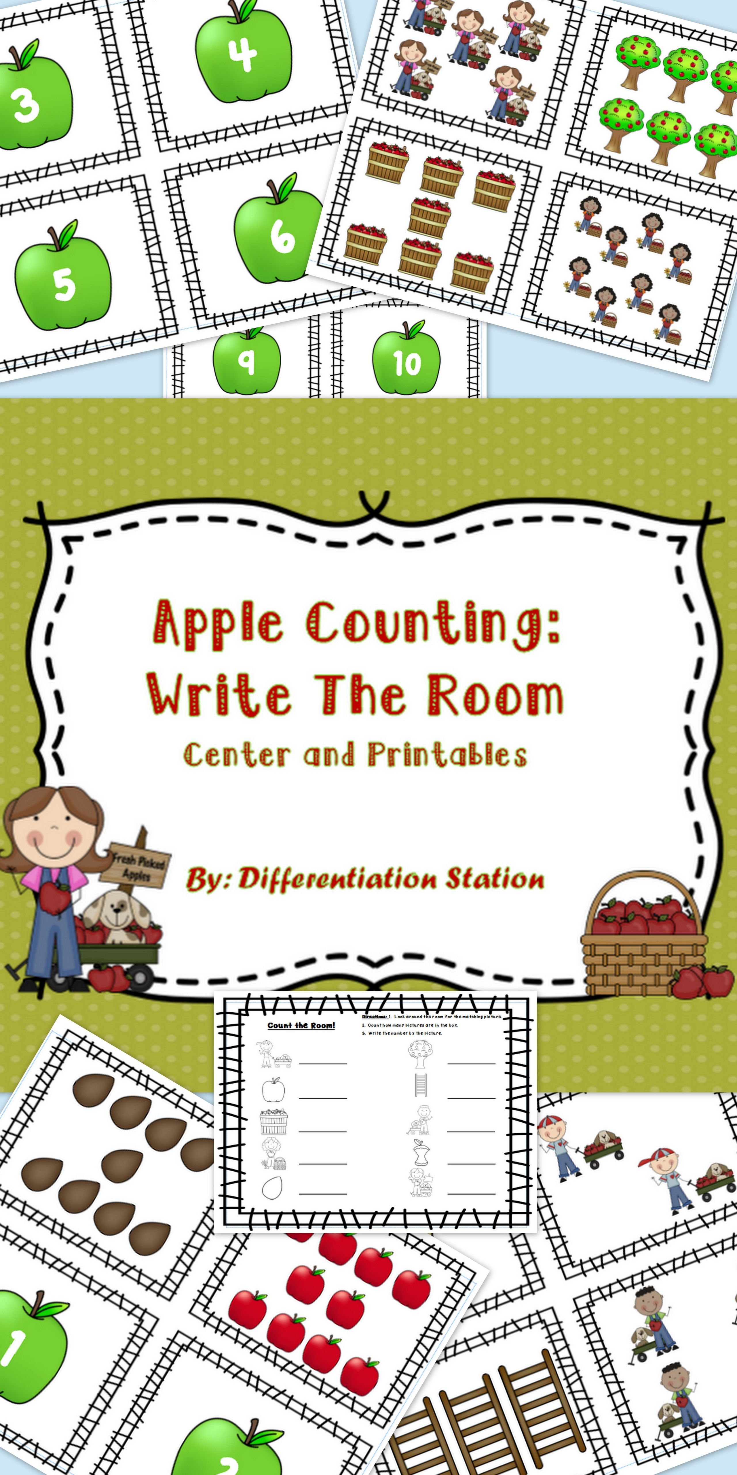 Free Apple Themed Write The Room 1 10 Printable Kindergarten Rti Special Education