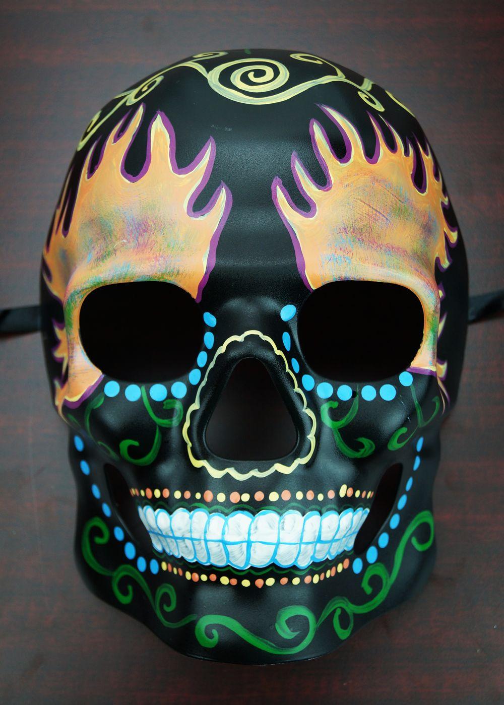 Day Of The Dead Skull Mask Fire Sugar Skull Living Room