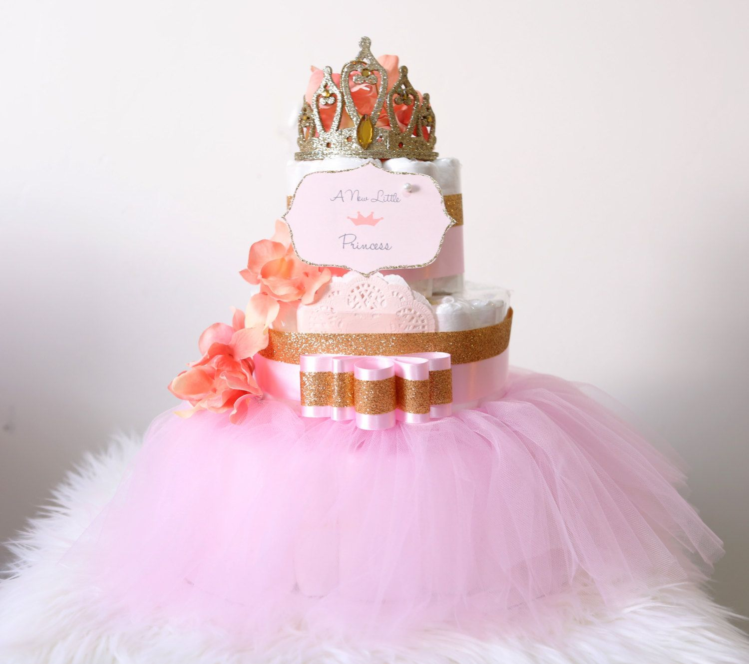 Gold Amp Pink Diaper Cake With Crown Tiara For Baby Girl