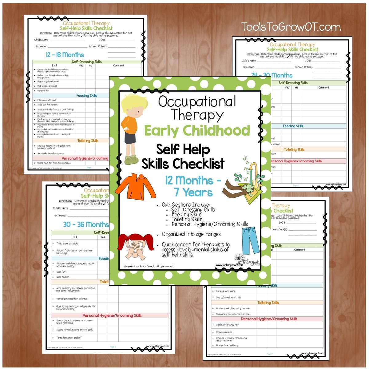 Early Childhood Self Help Skills Checklist Quick Screen For Therapists To Assess Developmental