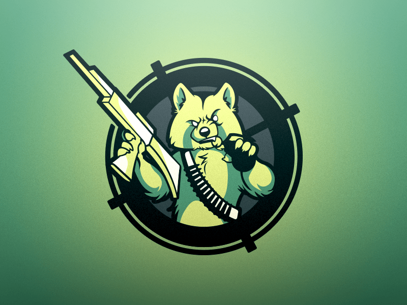 Bad Ass Animal Gaming Logo. What is it? A human/fox? Wolf