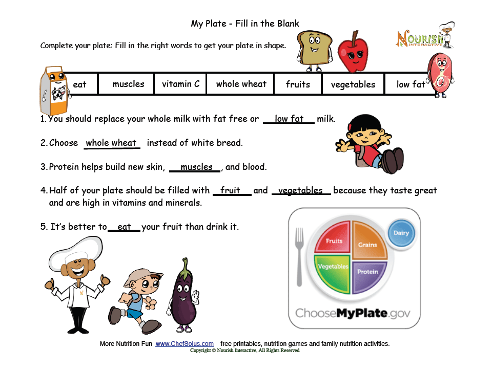 My Plate Fill in the Blank Answer Key Nutrition