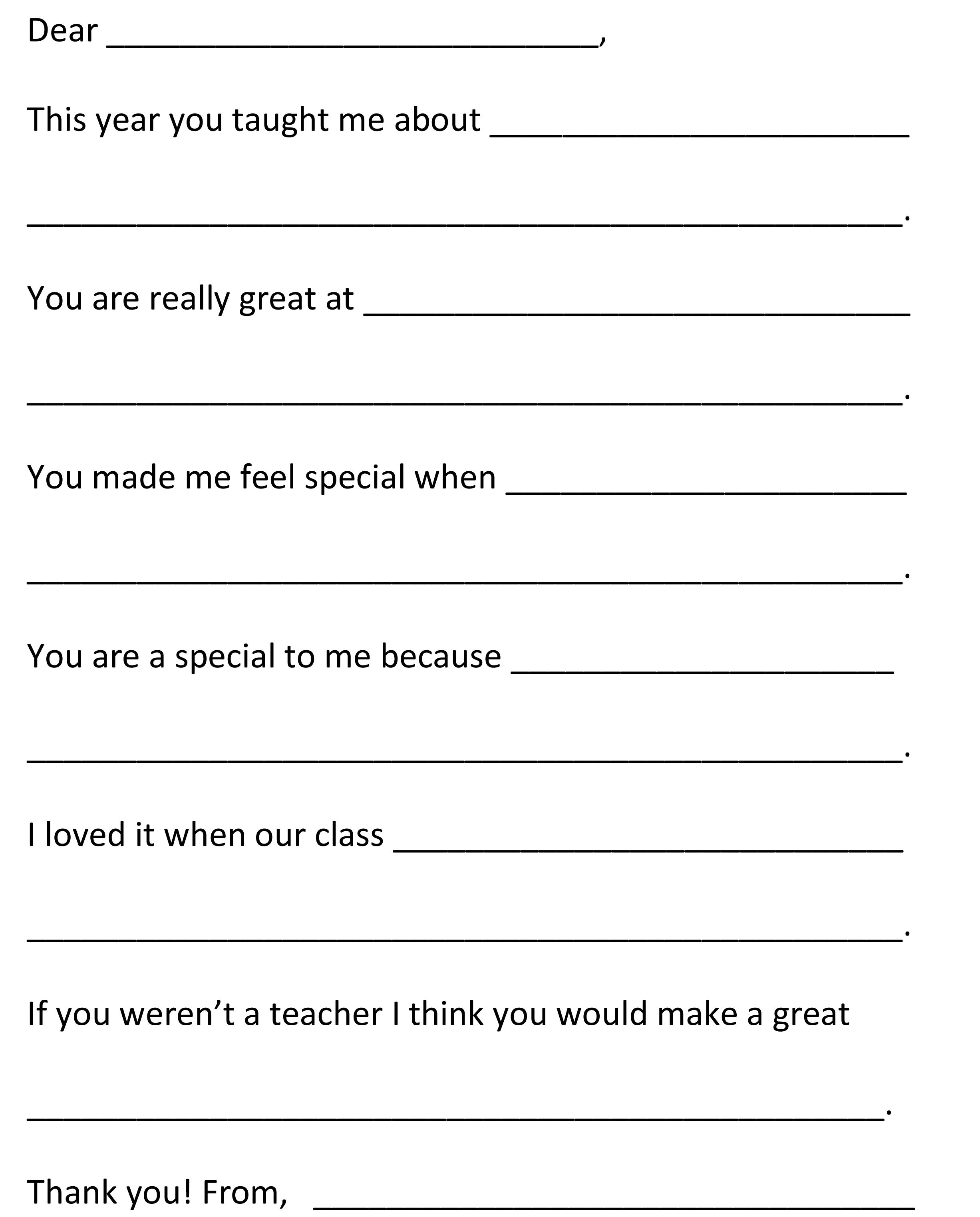 Dear Teacher End Of Year Fill In The Blank Letter To