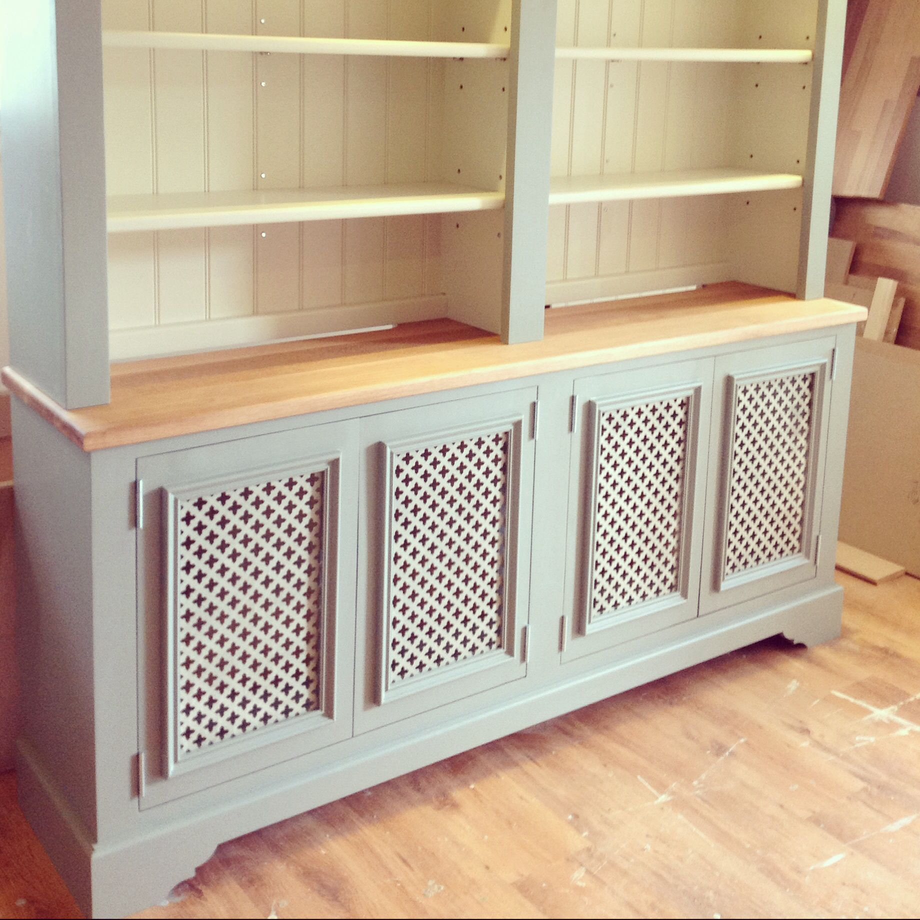 Radiator cover / dresser, painted in Farrow & Ball {lime