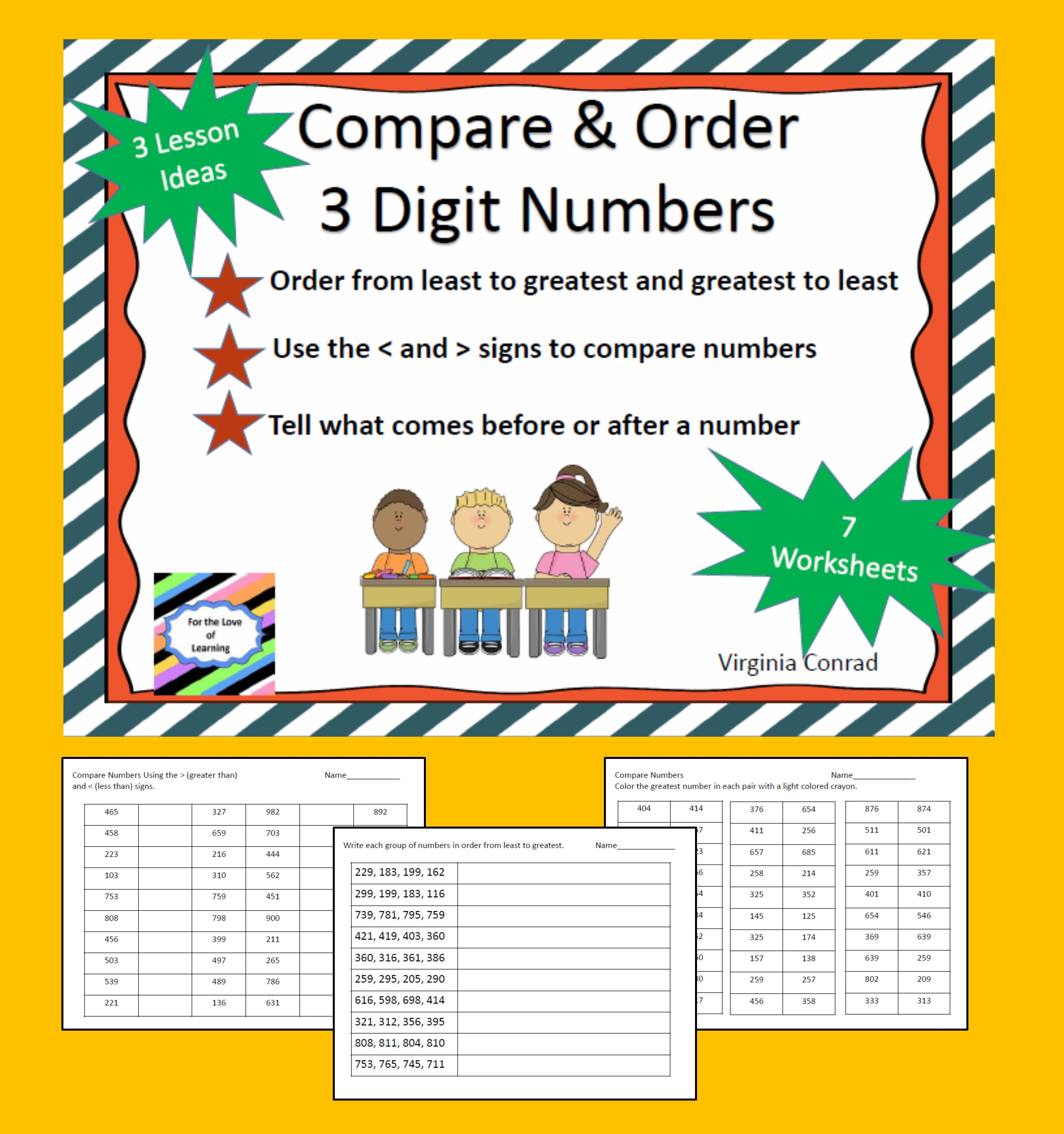 Activities And Worksheets For Comparing And Ordering 3 Digit Numbers