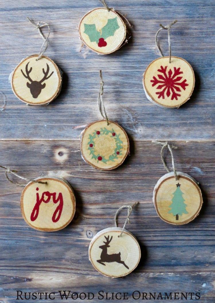 Wood Slice Ornaments Holidays Pinterest Rustic wood