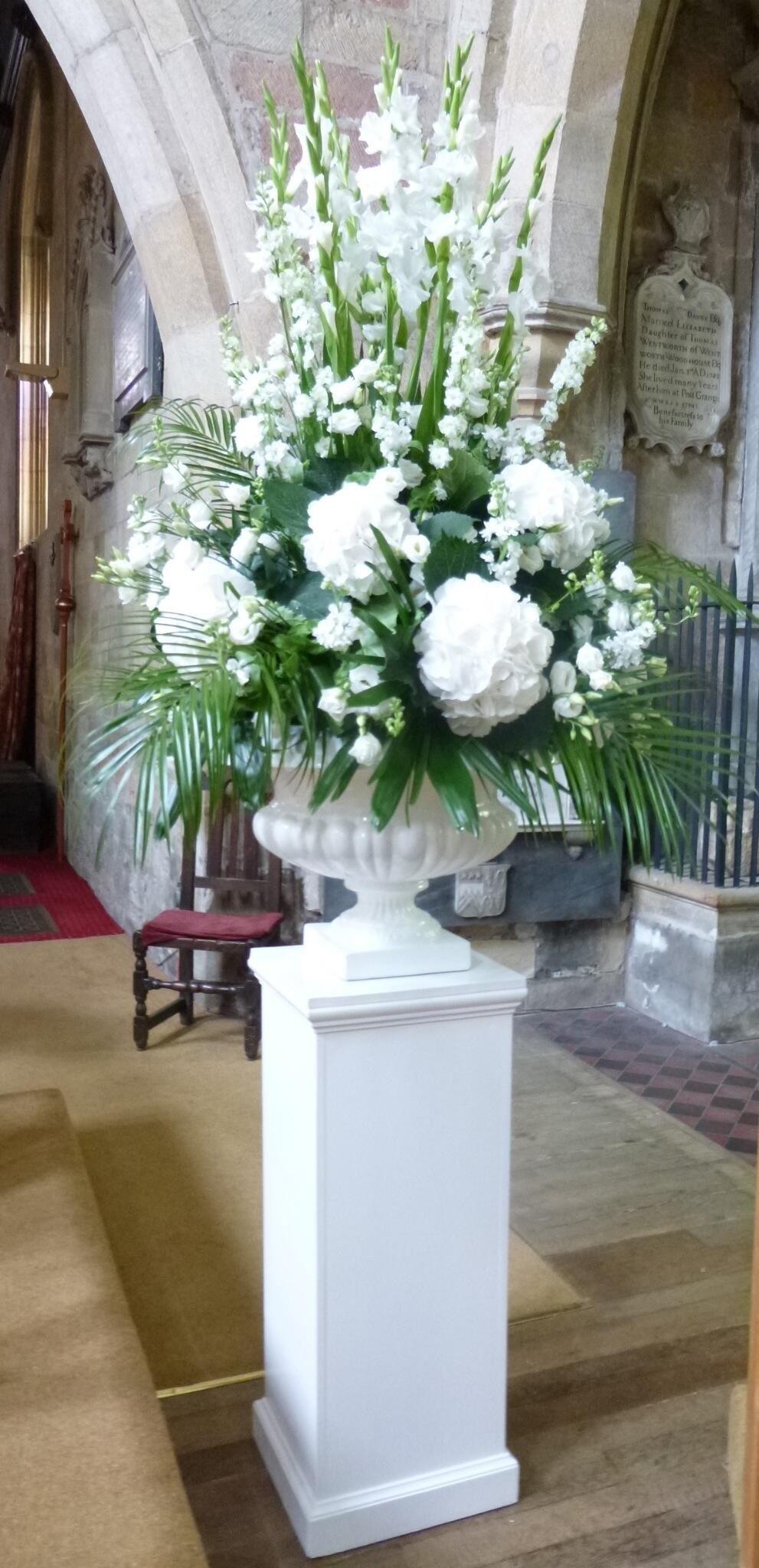 White pedestal arrangement Floral designs Pinterest