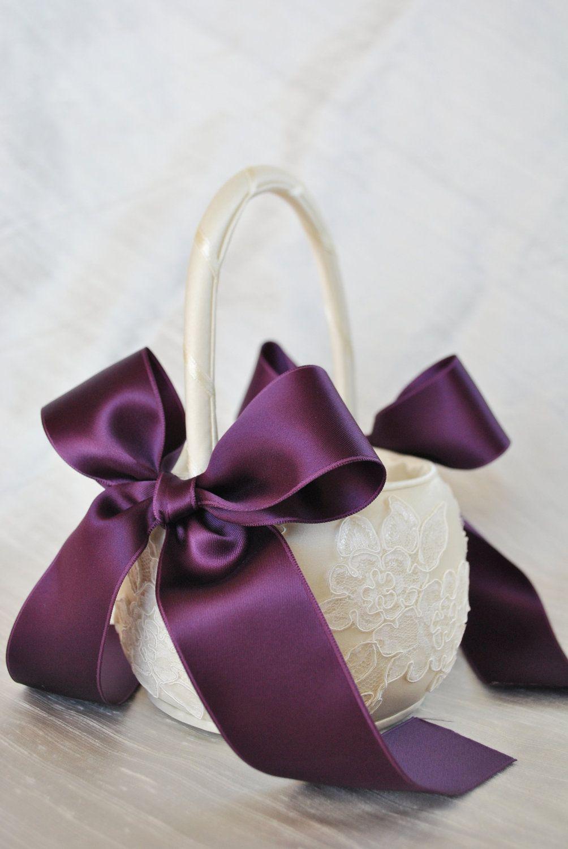 Purple Flower Girl Basket Purple and Ivory Alencon Lace