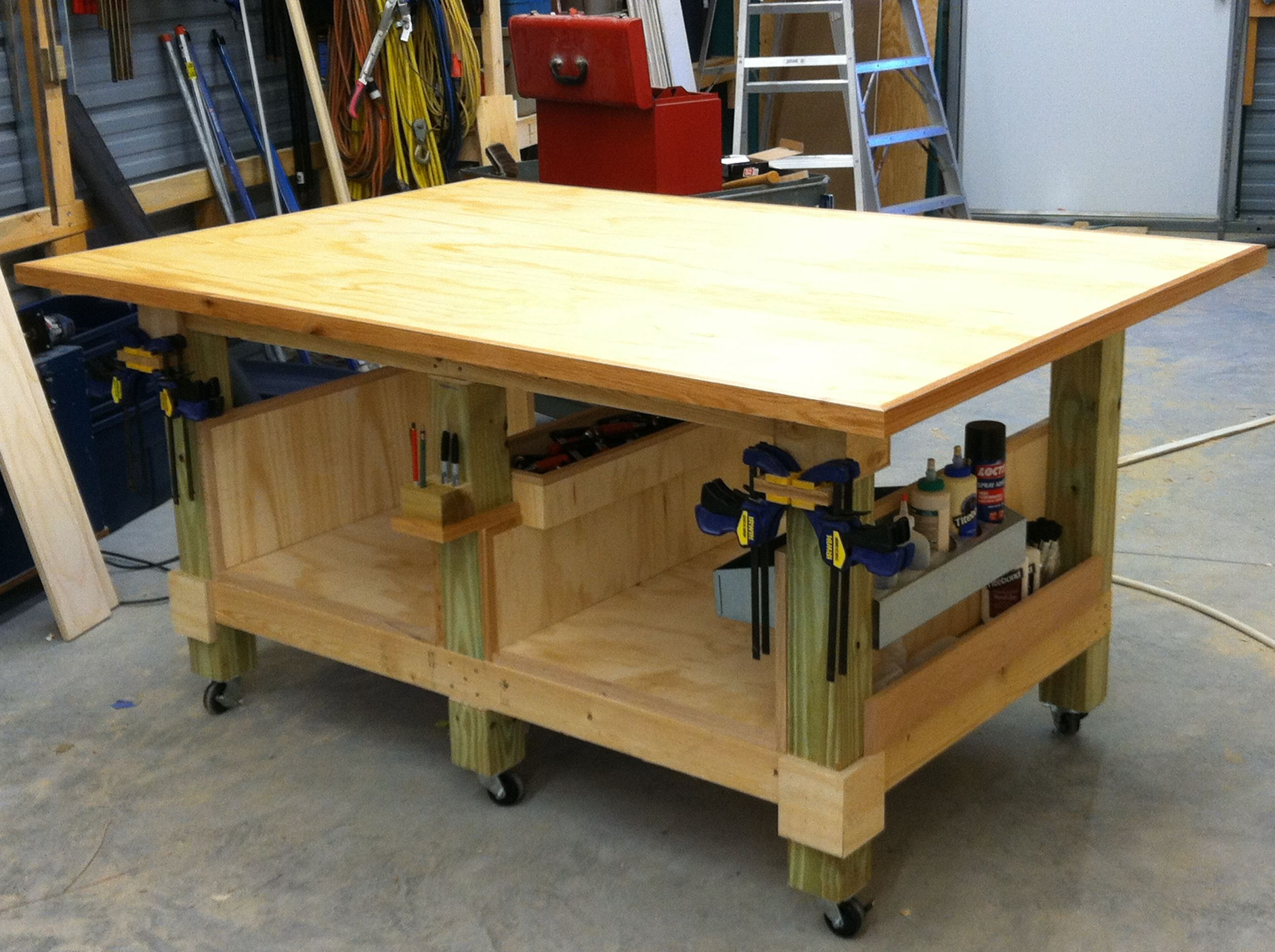 My 4 x 6 ft woodworking assembly table. Six legs from 4 x