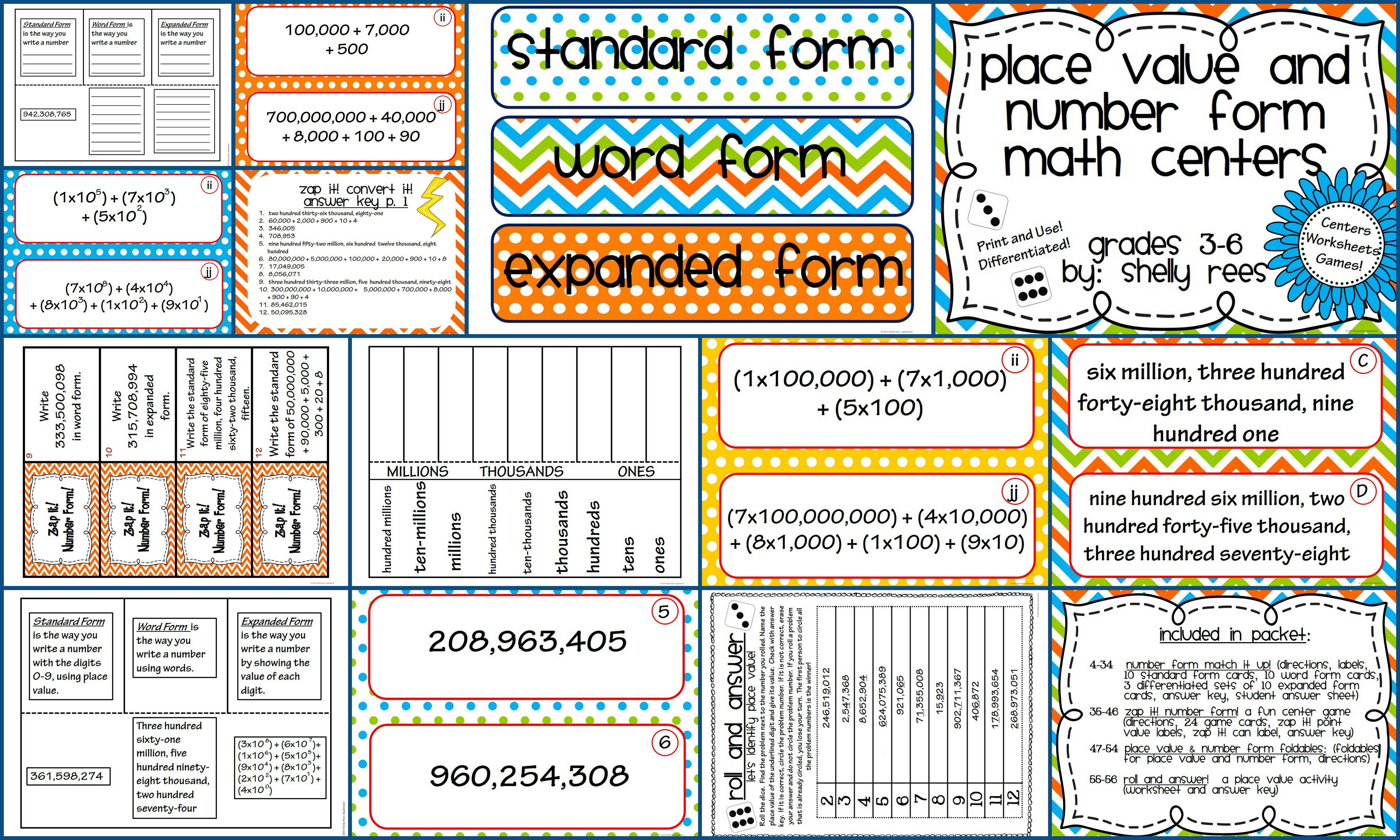 Place Value And Number Form Math Centers And Worksheets