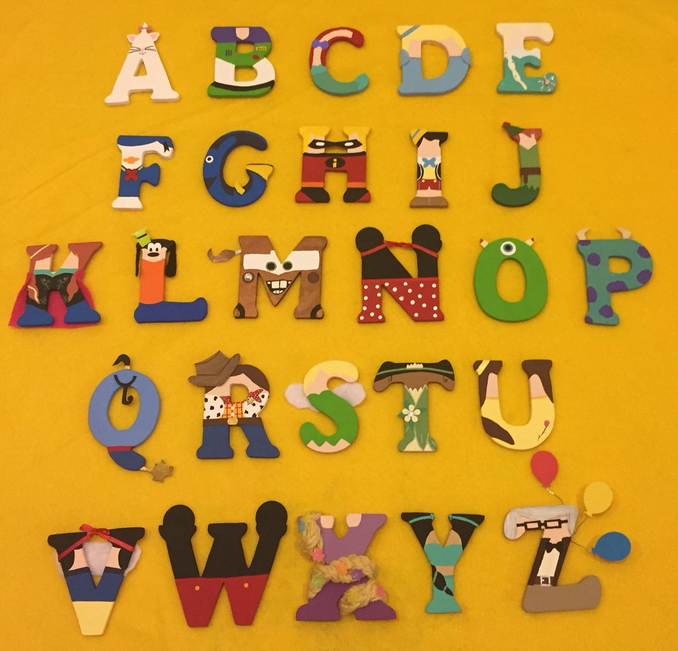 The Alphabet Made Up Of Different Disney Characters Great