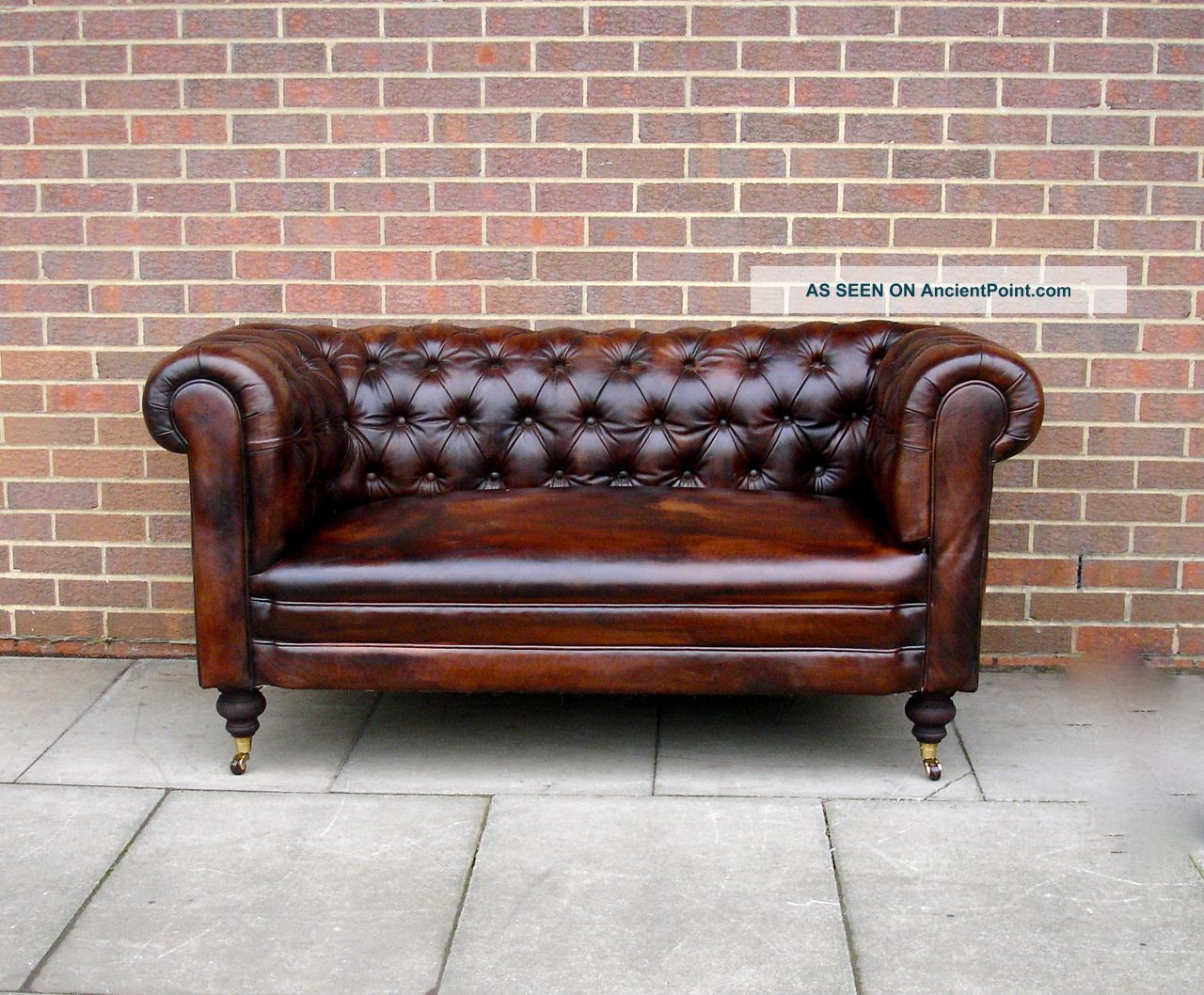 Antique 19thc Leather Chesterfield Sofa Drop Arm Hand