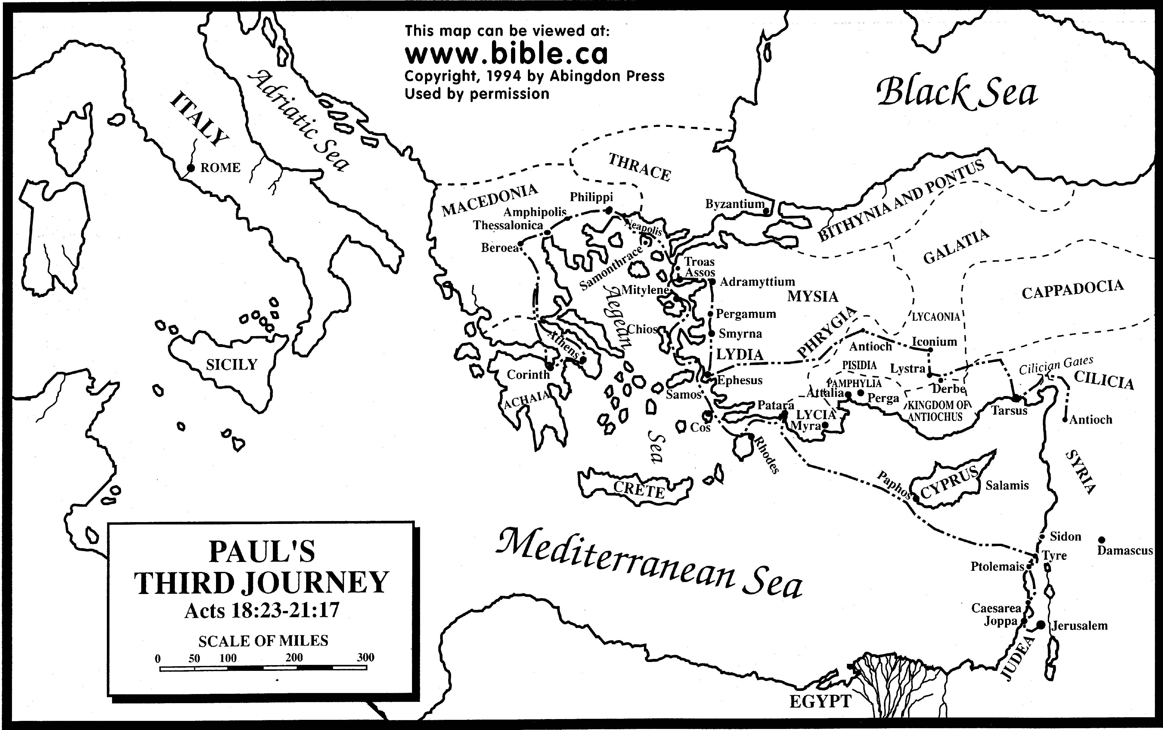 Paul S Third Missionary Journey Free Map