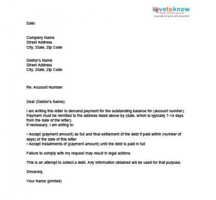 Sample letter for settlement of payment textpoems sample settlement letter resume cv cover spiritdancerdesigns Choice Image