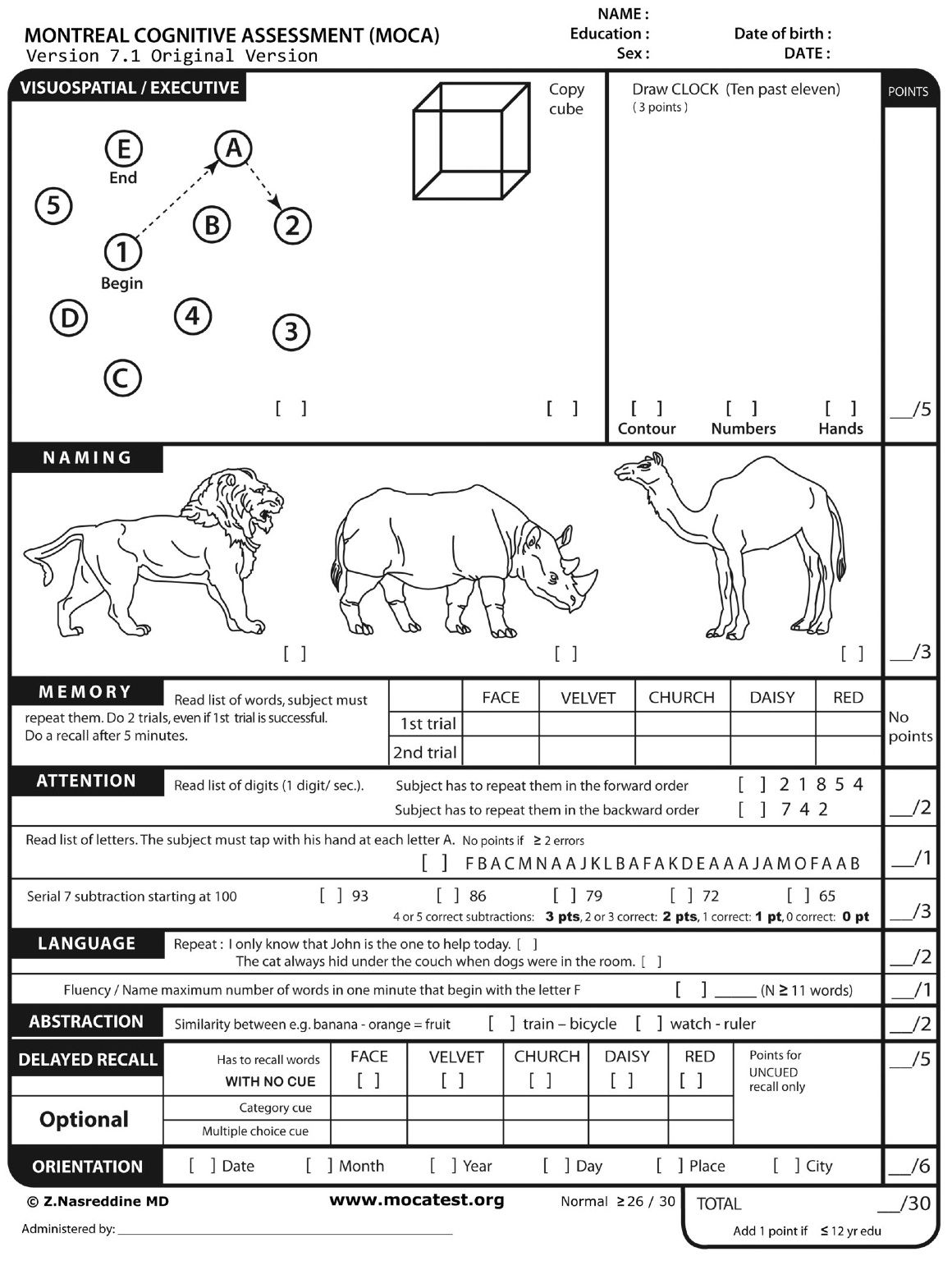 The Montreal Cognitive Assessment Moca