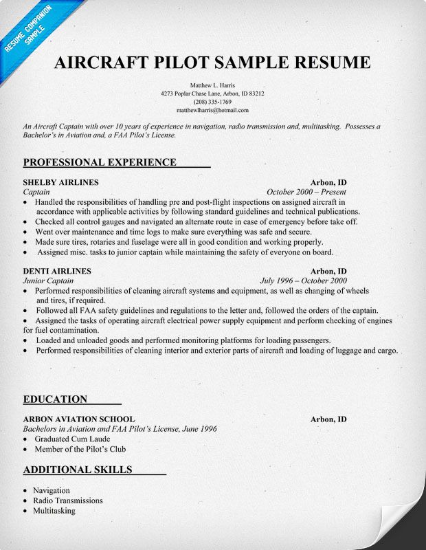 Airline Pilot Resume Examples. Aviation Resume Template Airline