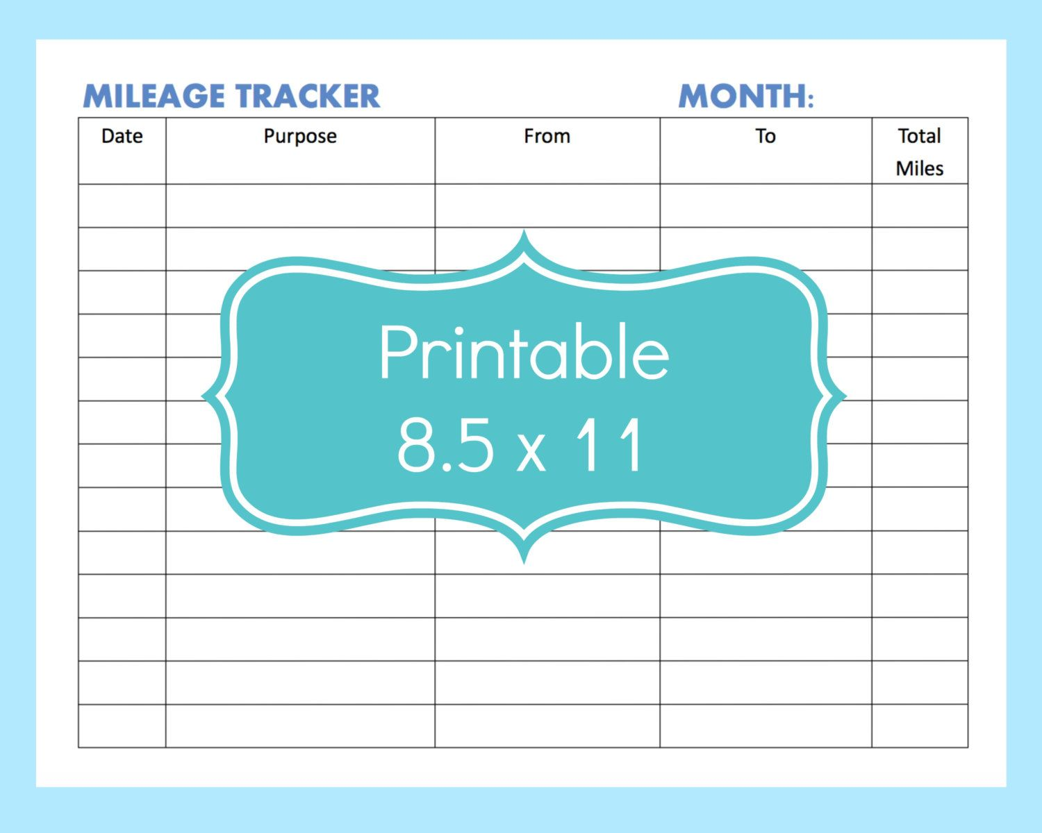 New To Commandcenter On Etsy Mileage Tracker Form Printable Printable Mileage Tracker Mileage