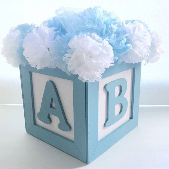 ABC Baby Block Centerpiece 8x8Great For Baby Shower Or