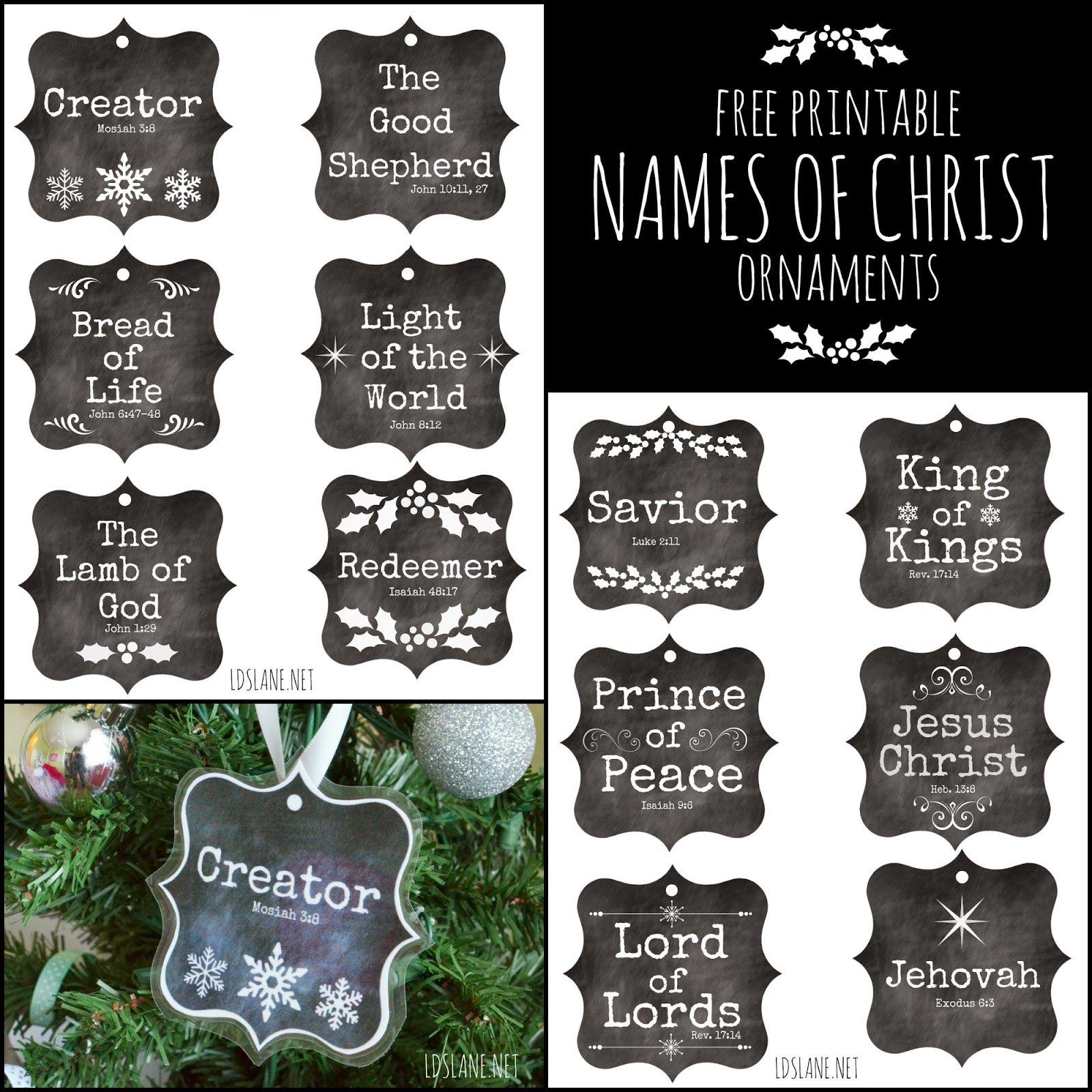 Names of Christ free printable ornaments