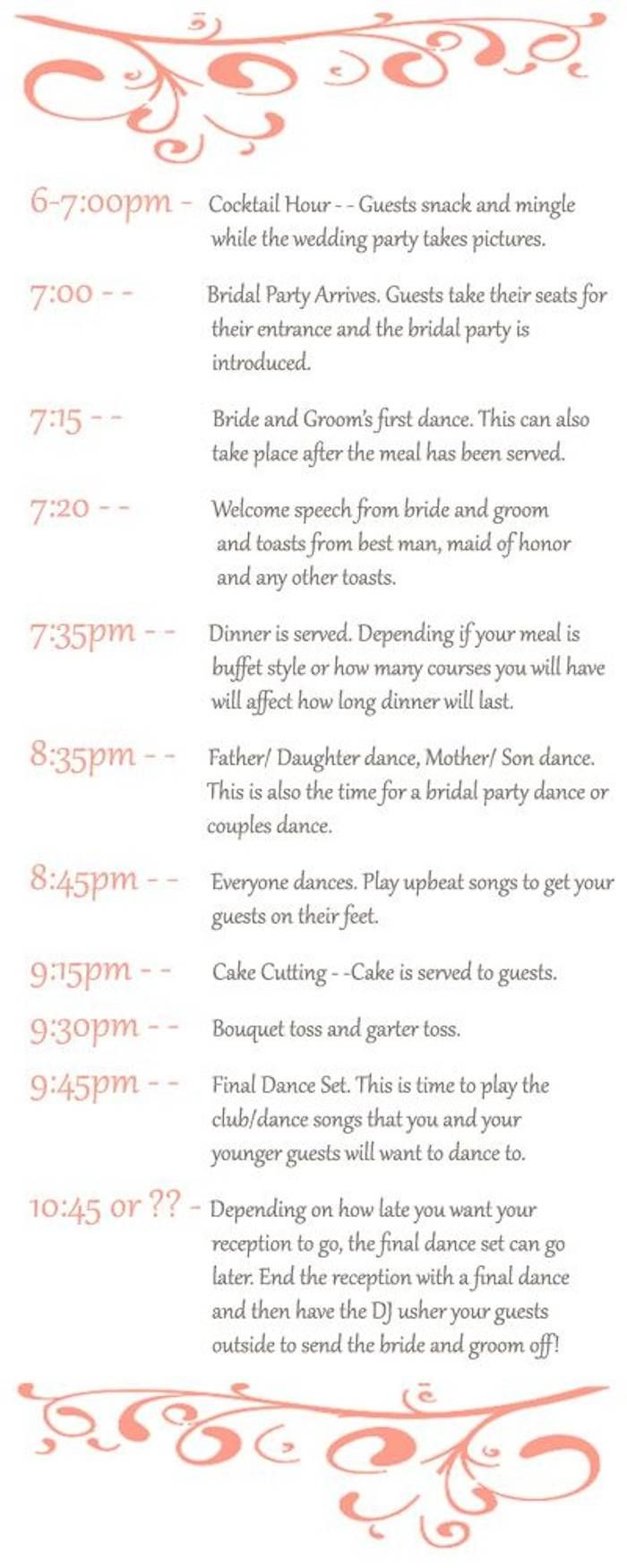 Timeline For Wedding Reception With Buffet Deweddingjpg