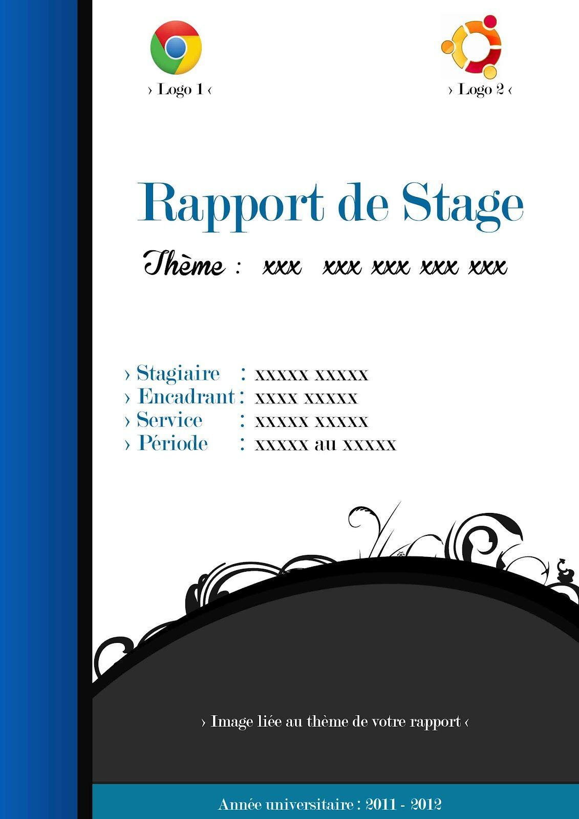 Idée page présentation rapport de stage Rapport de Stage
