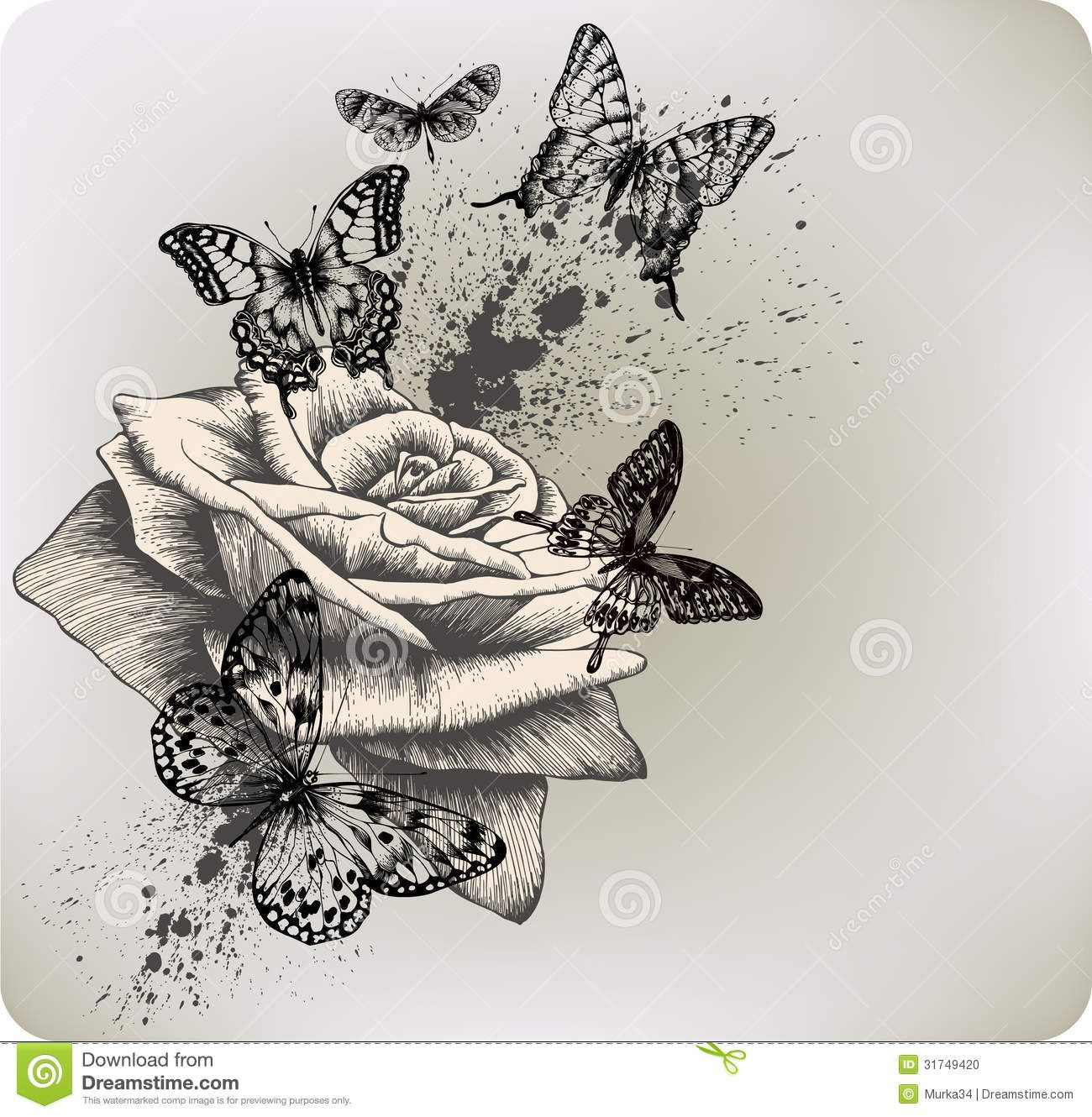 Background With Rose And Butterflies Flying. Vecto