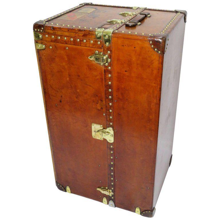 early 20th century louis vuitton haut leather wardrobe trunk malle armoire
