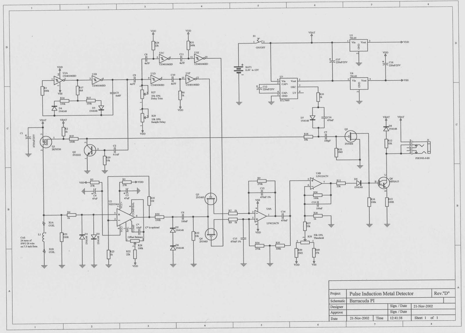 Pulse Induction Detector Schematic
