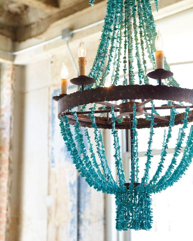 Regina Andrew Design Turquoise Beads Six Light Chandelier