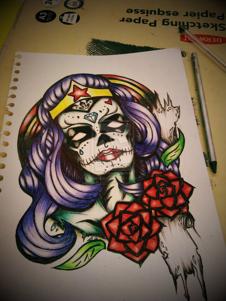 Wonder Woman Sugar Skull Tattoo Ink Love Pinterest