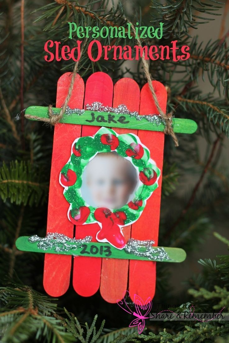 Sled Craft Ornament Parent gifts, Craft sticks and Parents