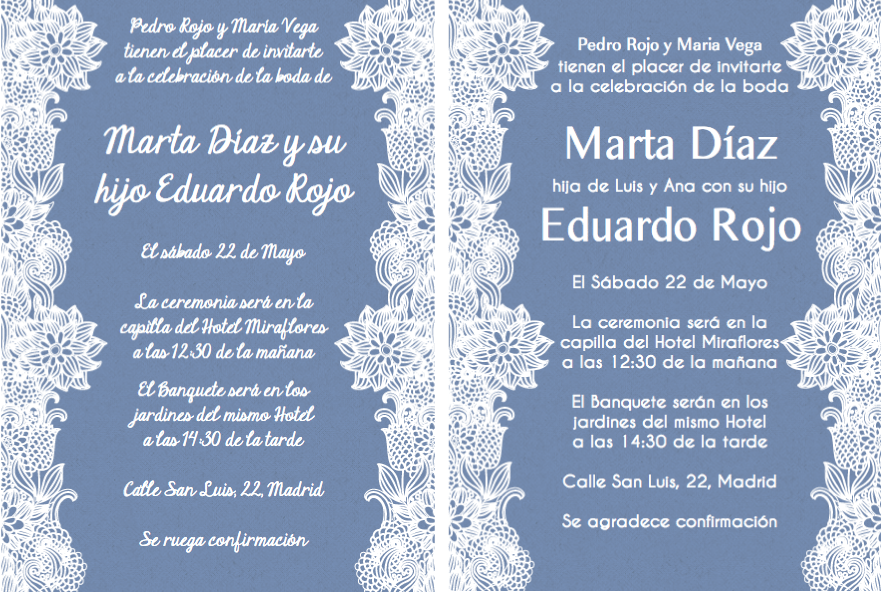 Spanish wording for invitations. Even though the wedding