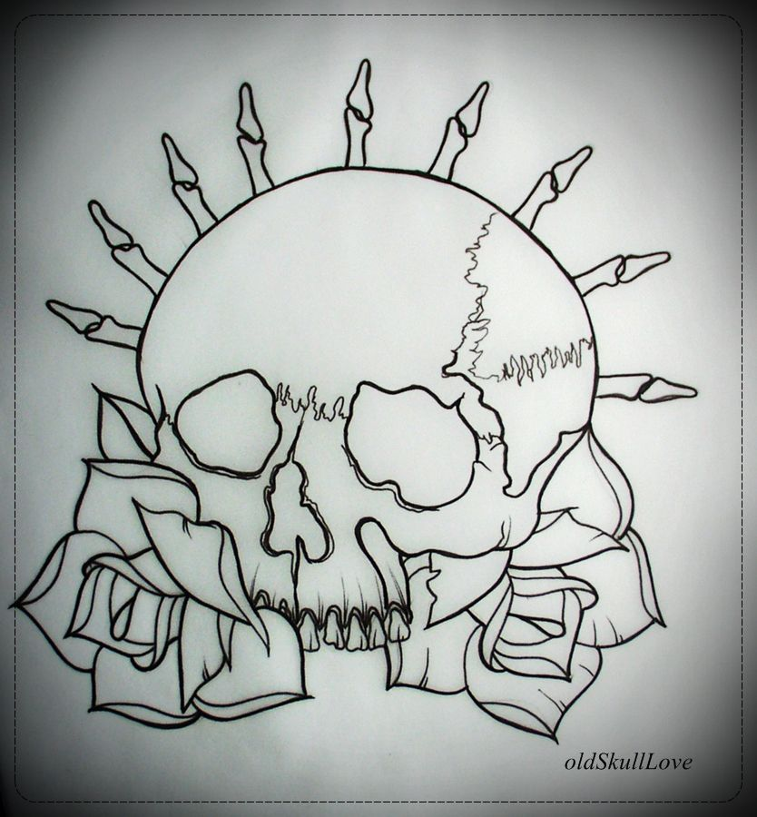 Gallery For > Flaming Skull Tattoos Out Lines art