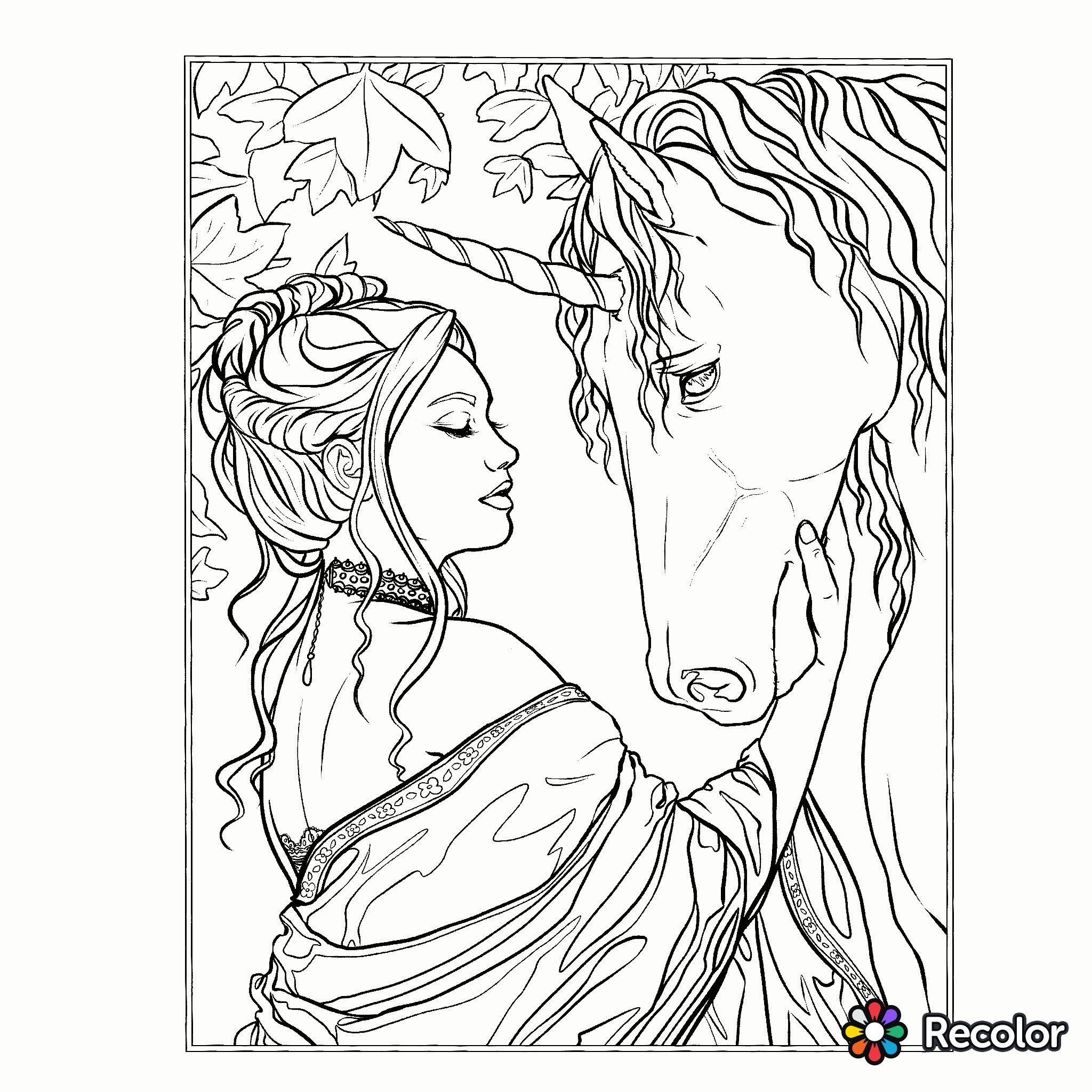 Unicorn coloring page Fantasy Coloring Pages for Adults