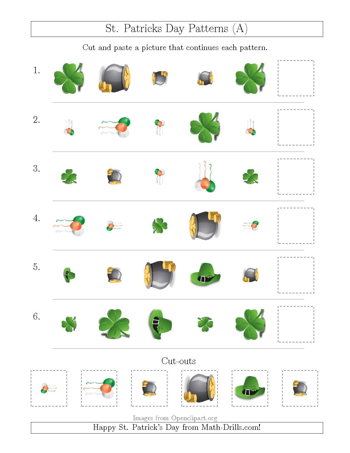 New St Patrick S Day Picture Patterns With Shape Size And Rotation Attributes A Math