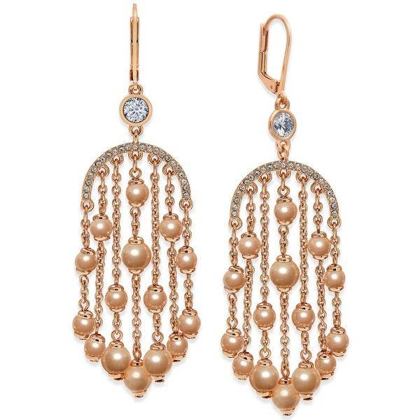 Kate Spade New York Rose Gold Tone Imitation Pearl Chandelier Earrings 66