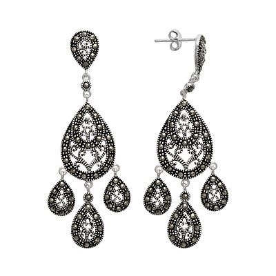 Le Vieux Marcasite Silver Plated Chandelier Earrings Made With Swarovski