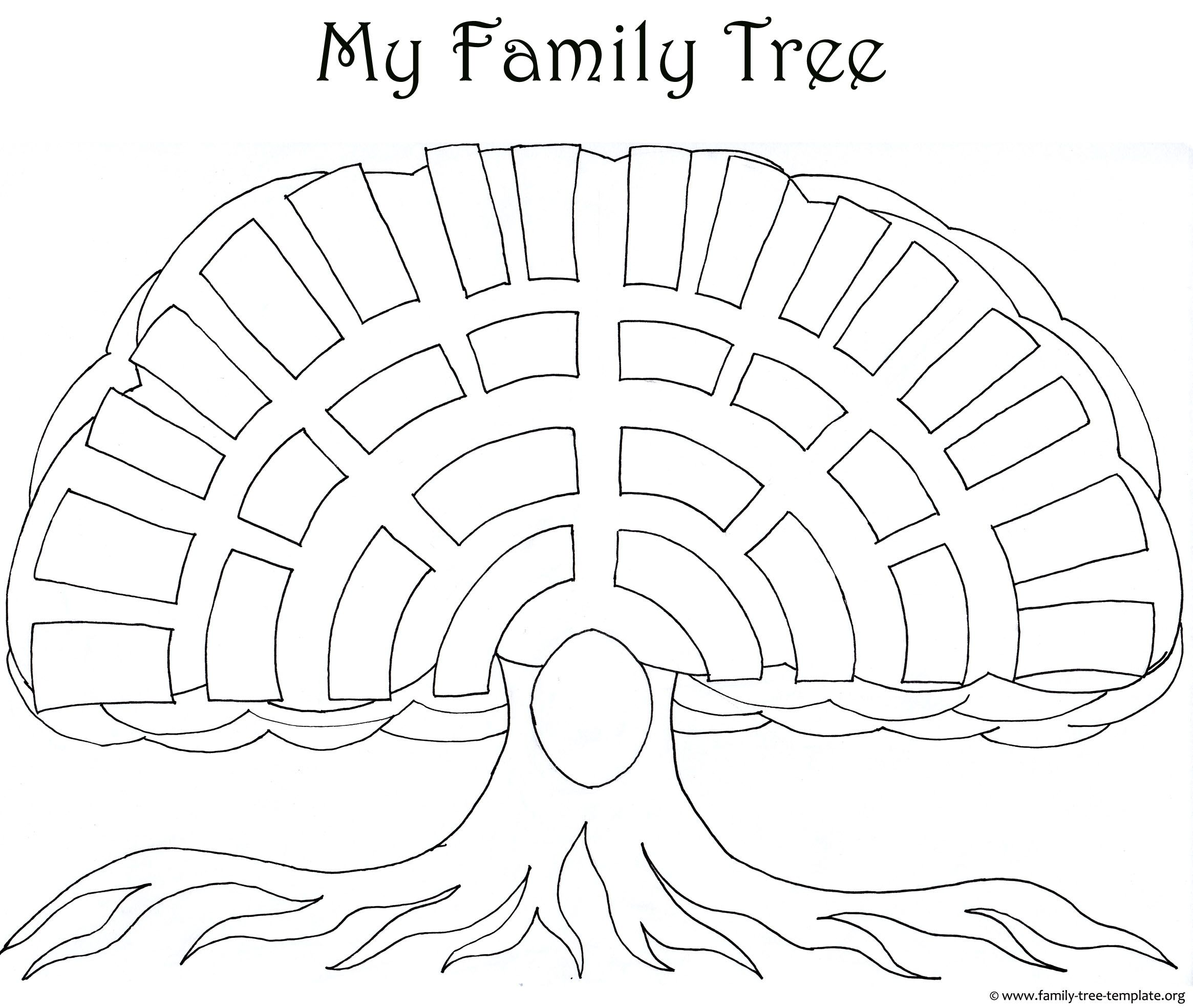 Big Oak Family Tree Template As A Coloring Page For Kids