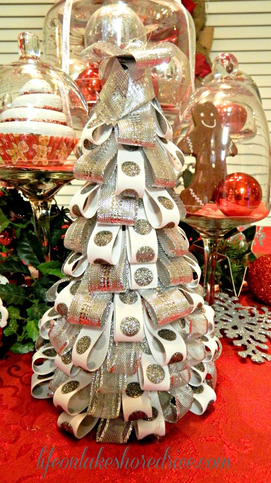 Silver and White Ribbon Tree Christmas DIY Decorations