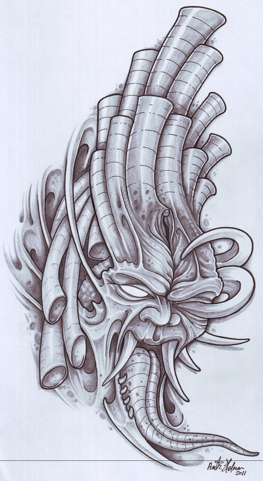 biomechanical tattoo Pesquisa Google sketch