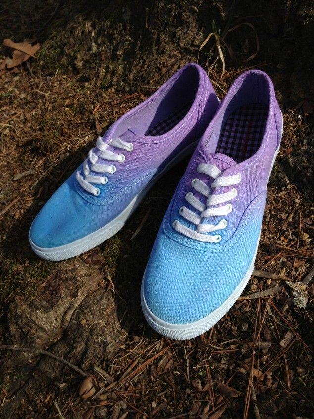 DIY ombré canvas shoes 20 DIY Makeover Sneakers Ideas