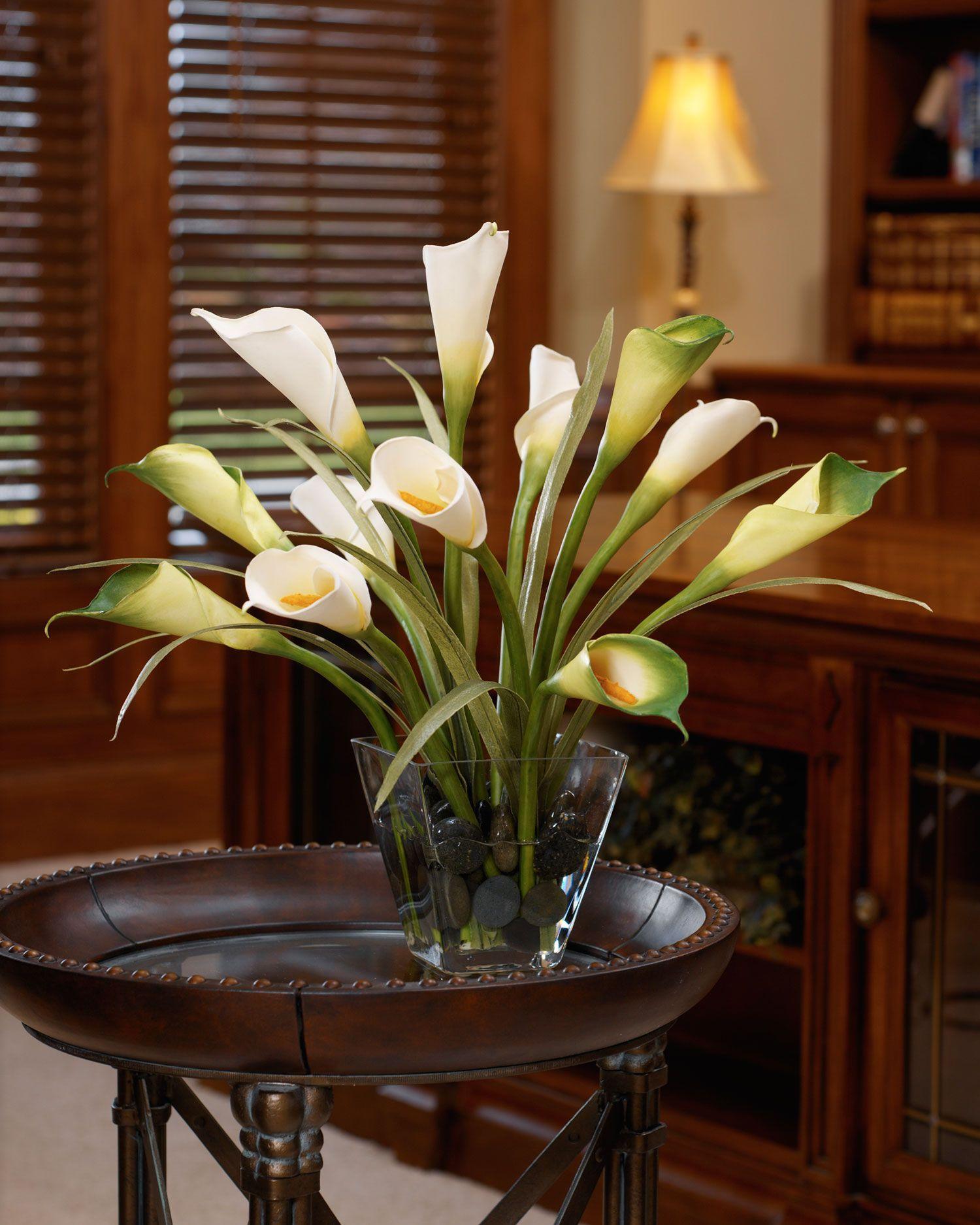 Calla Lily & Foliage Silk Flower Centerpiece Calla