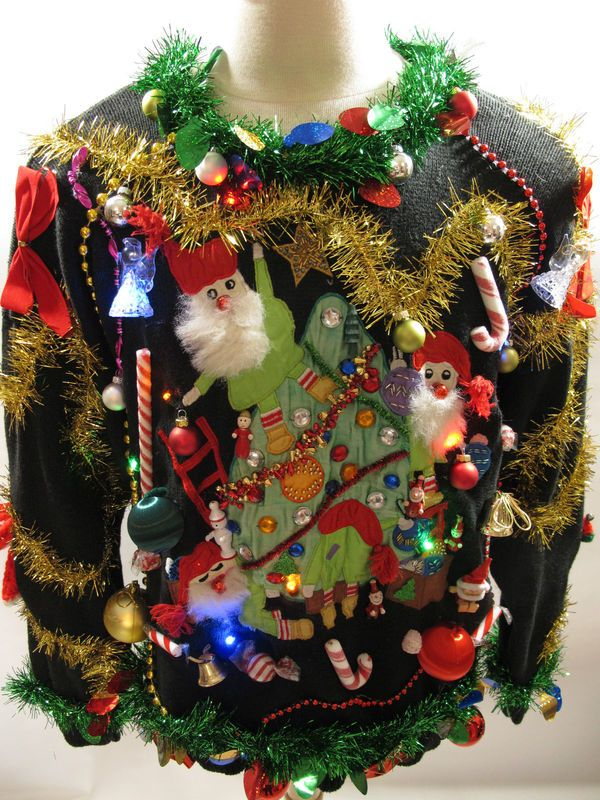 Light Up UGLY CHRISTMAS SWEATER Santas on Tree Beaded