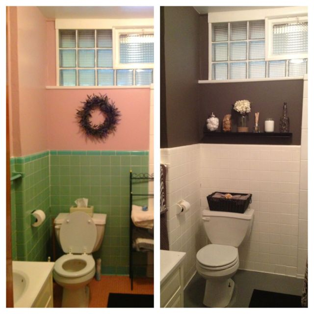 DIY bathroom redo for less than $200 transformed to Gray scale