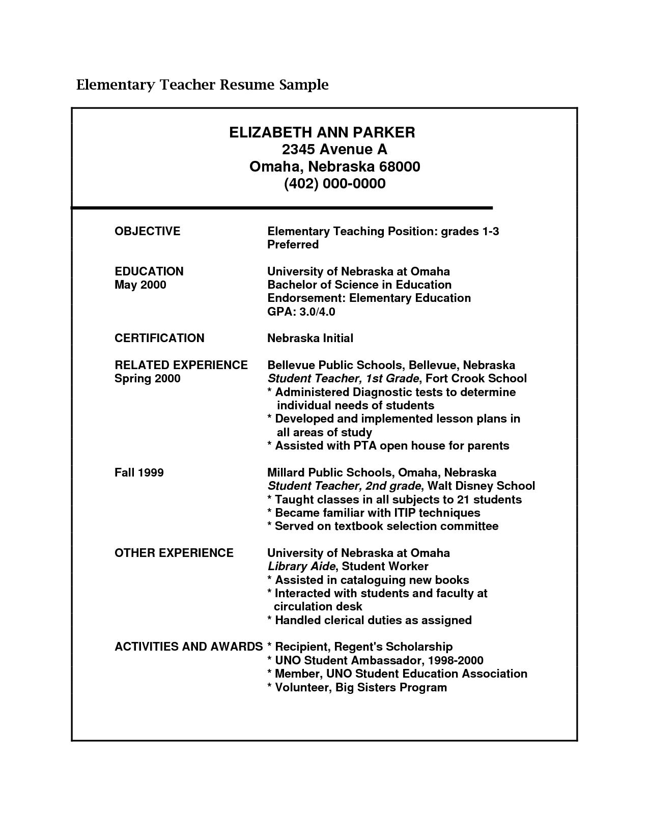 English Teacher Resume Format Download pe example page 1 sample – Teacher Resume Format