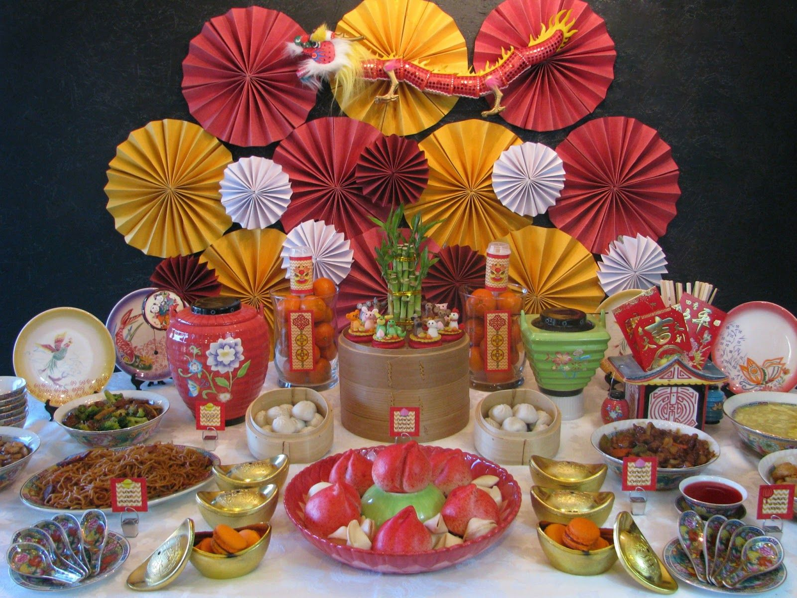 Chinese new year treats table set up Lunar Harvest/Yum