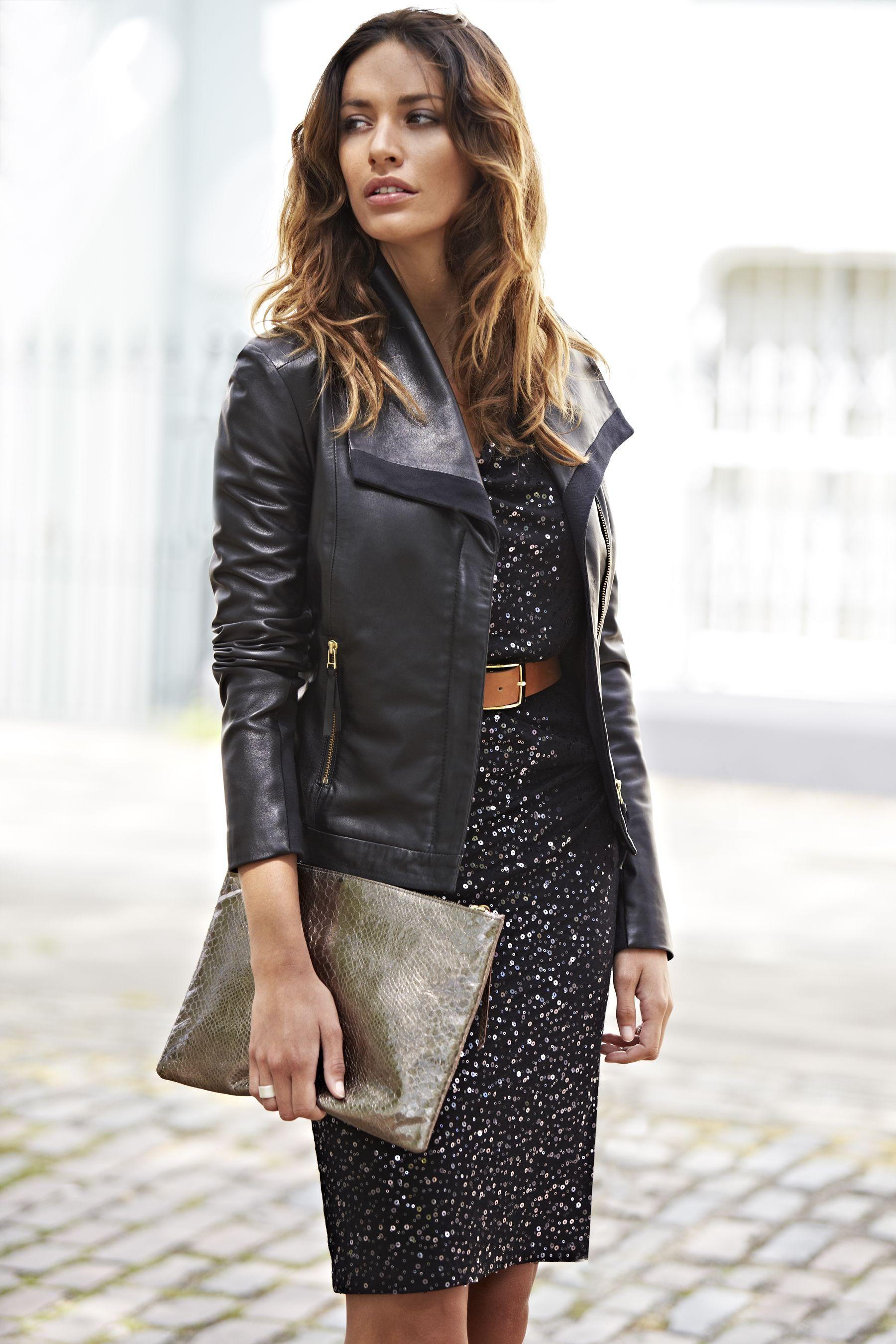 Kate Sequin Dress, Essential Belt, Agyness Leather Jacket
