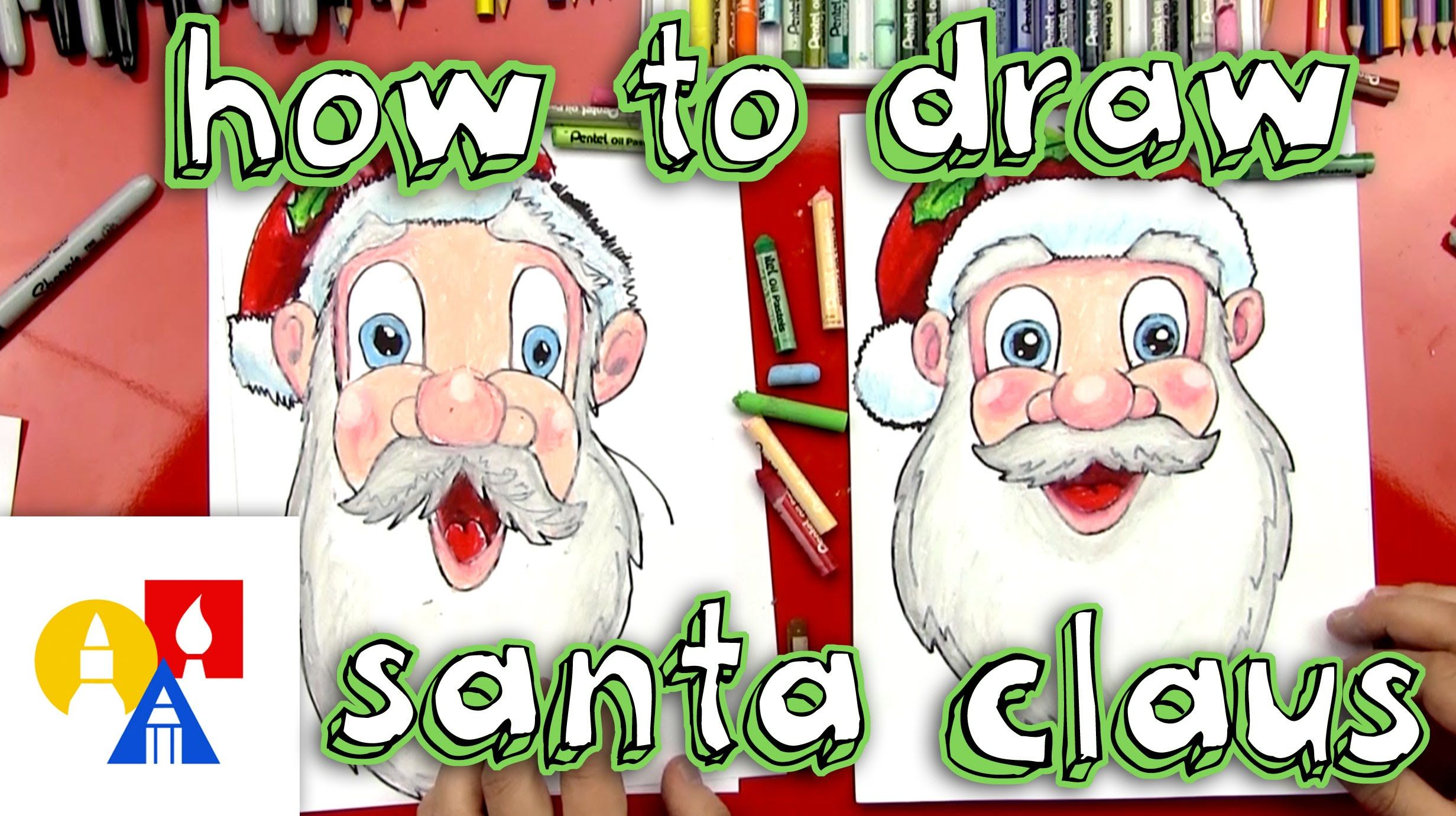How to draw Santa Claus from Art for Kids Hub. christmas
