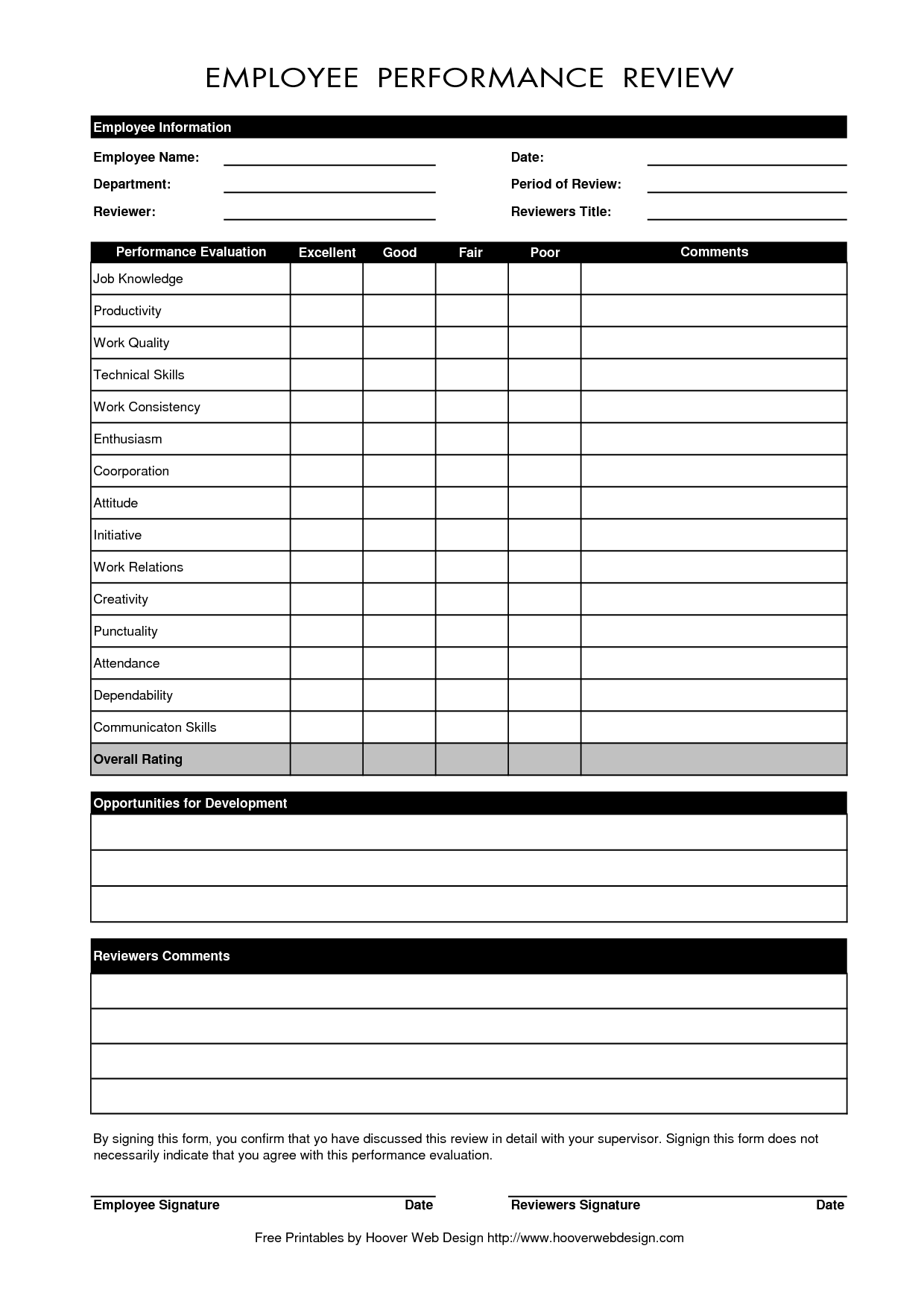 Free Employee Performance Evaluation Form Template